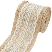 Ximkee 2m Burlap White Lace Craft Ribbon for Craft Wedding Home Decor