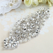 Bridal Wedding Appliques, Crystal Rhinestone Belts Applique Sparkle Thin Lightweight Sewn or Hot Fix for Women Gown Prom Dress Sashes - Clear Silver