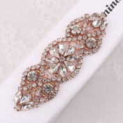 (2pieces) Crystal Applique Small Size with Rhinestones in Silver or Rose Gold for Wedding Dress Decoration or Headpieces Garters