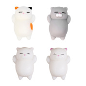 Toposend Pack of 4 Healing Toys Cute Mini Squishy Squeeze Soft Collection Stress Reliever Gift Decor Colourful White Grey Cat Shape