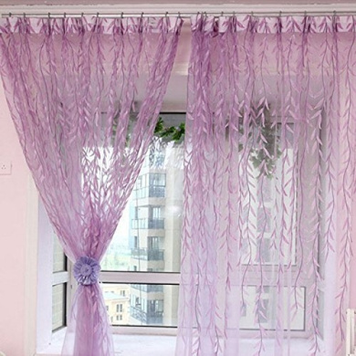 1m * 2m Curtains Rural Style Willow Leaves Pattern Offset Blind Printed Glass Yarn for Door Window Decor (Purple,2pcs)