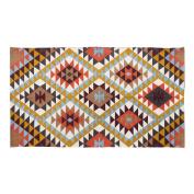 Homescapes Geometric Style Printed Rug 'Oslo' Orange, Yellow, Brown & Cream 100% Cotton Rug, 90 x 150 cm
