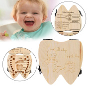 Baby Memory Tooth Box,Malloom Wooden Cartoon Pattern Baby Save Organiser Milk Tooth Wood Storage Souvenir Box