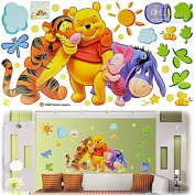 Winnie the Pooh Wall Stickers, Removable, Easy to Apply, PVC, 42 x 27cm Display by FADS Homestyle