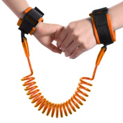 Child Anti-lost Wrist Band, Toddler Kids Baby Safety Walking Harness Hand Belt Strap w/ Adjustable Soft Hook and loop Wristband, 1.5m / 4.9Feet Elastic Steel Wire Rope, Leash Link for Travel Outdoor Orange