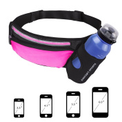 HAISSKY Running Waist Belt with Water Bottle Holder,Waterproof Sports Waist Pack with Reflective Strip for Jogging Running Walking Cycling Hiking Fit for Men and Women