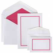 JAM Paper Stationery Combo Set - Pink Border - 1 Small & 1 Large Set - 150/pack