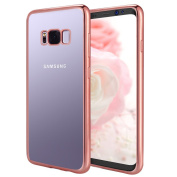 Galaxy S8 Case, Samione Galaxy S8 Cover [Crystal Clear] TPU Bumper [Metal Electroplating Technology] Shockproof Silicon Case Cover for Samsung Galaxy S8 - Rose Gold