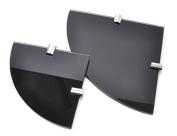 Multi pack Gloss Black Toughened 6mm Glass Corner Shelves - 2 shelves - 150mm and 200mm