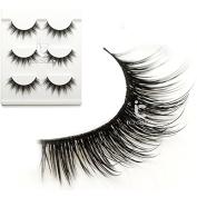 New 3Pairs Luxurious 3D False Eyelashes Handmade Natural Long Eye Lashes Makeup
