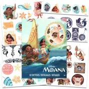 Disney Moana Tattoos - 50 Assorted Temporary Tattoos with Bonus Tribal Tattoos