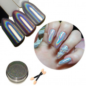 Holographic Nail Powder,LilyAngel Laser Nail Art Rainbow Glitter Chrome Powder Pigments Gradient Colour With Dual-head Nail Sponge