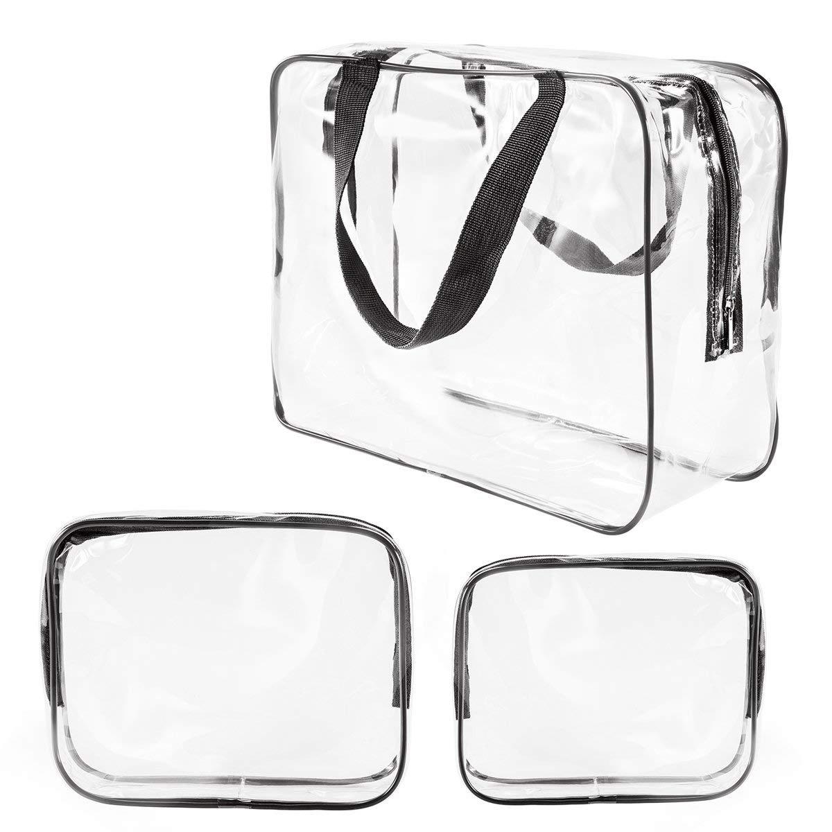 1010a8c9c58a 3Pcs Crystal Clear Cosmetic Bag TSA Air Travel Toiletry Bag Set with Zipper  Vinyl PVC Make-up Pouch Handle Straps for Women Men