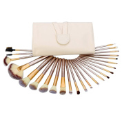 24Pcs Abody Makeup Brush Set, Professional Essential Cosmetic Make Up Brushes Kit with White Leather Bag