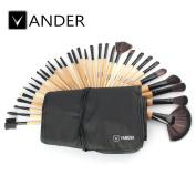 Vander Synthetic Kabuki Foundation Blending Makeup Brushes Kit with Bag - Wood