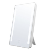 Jerrybox LED Lighted Makeup Mirror, Batteries or USB Charging, Natural LED, 180°Rotation, Adjustable, Dimmable, Foldable, Back Stand, White
