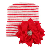 Newborn Hospital Hat Red Stripe with Bow Knot For Preemie Baby Girls Boys
