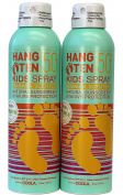 Hang Ten Kids Safe Natural Sunscreen Best for Face and Body Water Resistant To 80 Min. Organic Broad Spectrum UVA/UVB Protection. SPF 50 by COOLA (180ml, Spray)