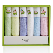 BAMBOOKIDS Soft Baby Bath Towels, Organic Toddler Washcloths(6 Pack), 100% Bamboo Fibre for Infants' Sensitive Skin, 25cm ×28cm Multicoloured