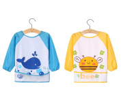 Pack of 2 Unisex Infant Toddler Baby Super Waterproof Long Sleeved Bib with Sleeves Pocket Waterproof Painting Apron