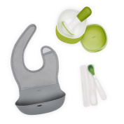 OXO Tot Mealtime On-the-Go Value Set with Roll-up Bib, Food Masher, and Feeding Spoon with Case