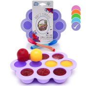 USA Standard- BPA Free | Homemade Baby Food & Frozen Breastmilk Freezer Storage Silicone Tray | Cover Lid | 45ml Portion Containers, Cups | Bonus 2 White-Hot Spoons | Makes a Great Gift! | Purple