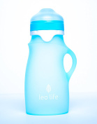 Leo Life 270ml Silicone Sippy Bottle Drinks, Smoothies & Purees- Medical Grade Silicone 4 Spouts
