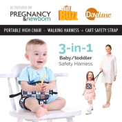Travel High Chair + Portable High Chair + Toddler Safety Harness + Shopping Cart Safety Strap. Winner of 3 AWARDS! Mom's Choice, Preferred Choice & Family Choice! Great for Travel/Home - Patriot