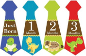Belly Doodles 16 Monthly Baby Stickers Boys Necktie Dinosaurs 17cm x 6.4cm