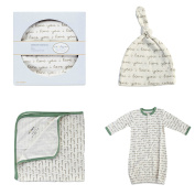 """Cat & Dogma Organic Cotton Newborn 0-6 Months """"I Love You"""" Hat Blanket Gown Gift Set"""