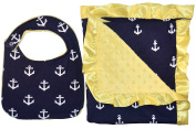 Unique Baby Soft Textured Minky Dot Blanket and Bib Gift Set with Satin Edge, Anchor Print Yellow