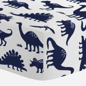 Carousel Designs Navy Dinosaurs Crib Sheet - Organic 100% Cotton Fitted Crib Sheet - Made in the USA