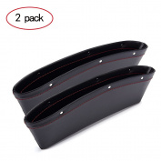 2 PCS Premium PU Leather Car Pocket Organiser Seat Console Gap Filler Side Pocket and Catch Caddy Organiser Interior Car Pocket Storage