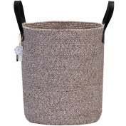 Sea Team 45cm H x 35cm D Bicolor Natural Cotton Thread Woven Rope Storage Basket Bin Nursery Laundry Hamper with PU Leather Handles