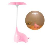 Night Light, SmartDer LED Desk Lamp, Bedside Lamp for Kids with USB Charging Port, Cute Elephant Shape, Touch Sensitive Control, 3 Brightness Levels
