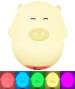 Alkbo Pig Clock Lamp Instruction. Touch Sensor,Voice Control Silicone Sensor 7-Colours Flashing USB Rechargeable Lighting,Decorative Lamp