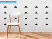 Sunny Decals Wide Triangle Fabric Wall Decals (Set of 48), Black