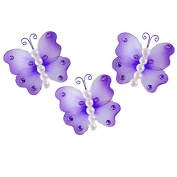 The Butterfly Grove Sydney Pearl Butterflies Decoration 3D Hanging Mesh Organza Nylon Decor, Purple Wisteria, Mini, 7.6cm x 7.6cm
