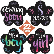 """New 2017! Stick'Nsnap (TM) 22 Pregnancy Stickers - """"Curly Rainbow at sunset"""" (TM). Great Baby Shower Gift!"""