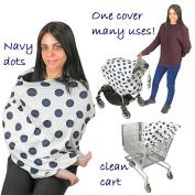 EZ Creations Nursing Breastfeeding Cover-Multi use-Stroller Canopy, Car Seat, Shopping Cart, Swaddler, Hi-Chair. Soft Breathable Washable