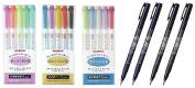Zebra Mildliner 15 Colour Full Set & Tombow Fudenosuke Brush Pen - Hard Type x 2 & Soft Type x 2 / Value set with an Original Paperclip