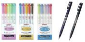 Zebra Mildliner 15 Colour Full Set & Tombow Fudenosuke Brush Pen - Hard Type x 1 & Soft Type x 1 / Value set with an Original Paperclip