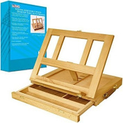 Adjustable Wood Desk Easel with Drawers Painting Art