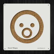 Shoked Emoticon Face Gasp Person Style 19617 DIY Plastic Stencil Acrylic Mylar Reusable