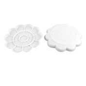 Home Mart Plastic Flower Shape Watercolour Paint Plate/Palette, 2 Pieces, White