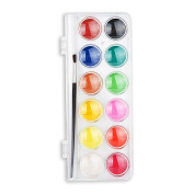 12 Colour Set Artist Watercolour Paint Cakes with Brush -Lightwish