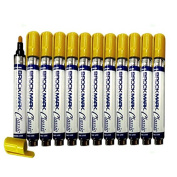 12 Pc Set Yellow Brockmark Classic Industrial Paint Markers Permanent Pen Metal Glass Rubber Wood for Auto Construction Arts