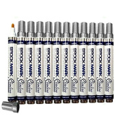 12 Pc Set Silver Brockmark Slimline Industrial Paint Markers Opaque Gloss Pen Metal Wood Plastic Glass for Auto Construction Arts Home