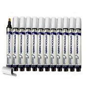 12 Pc Set White Brockmark Classic Industrial Paint Markers Permanent Pen Metal Glass Rubber Wood for Auto Construction Arts