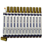 12 Pc Set Gold Brockmark Slimline Industrial Paint Markers Opaque Gloss Pen Metal Wood Plastic Glass for Auto Construction Arts Home